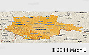 Political Shades Panoramic Map of Jihočeský kraj, shaded relief outside