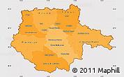 Political Shades Simple Map of Jihočeský kraj, cropped outside
