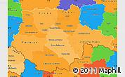 Political Shades Simple Map of Jihočeský kraj, political outside