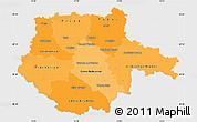 Political Shades Simple Map of Jihočeský kraj, single color outside