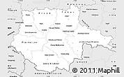 Silver Style Simple Map of Jihočeský kraj