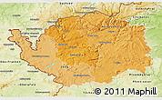 Political Shades 3D Map of Karlovarský kraj, physical outside