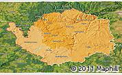 Political Shades 3D Map of Karlovarský kraj, satellite outside