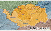 Political Shades 3D Map of Karlovarský kraj, semi-desaturated