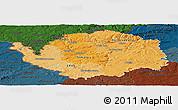 Political Shades Panoramic Map of Karlovarský kraj, darken