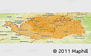 Political Shades Panoramic Map of Karlovarský kraj, physical outside