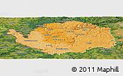 Political Shades Panoramic Map of Karlovarský kraj, satellite outside