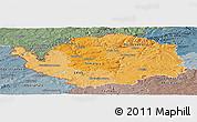 Political Shades Panoramic Map of Karlovarský kraj, semi-desaturated