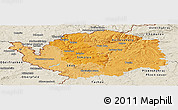 Political Shades Panoramic Map of Karlovarský kraj, shaded relief outside
