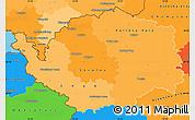 Political Shades Simple Map of Karlovarský kraj, political outside