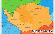 Political Shades Simple Map of Karlovarský kraj