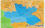 Political Shades 3D Map of Královéhradecký kraj
