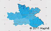 Political Shades Map of Královéhradecký kraj, cropped outside