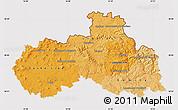 Political Shades Map of Liberecký kraj, cropped outside