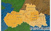 Political Shades Map of Liberecký kraj, darken