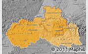 Political Shades Map of Liberecký kraj, desaturated