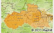 Political Shades Map of Liberecký kraj, physical outside