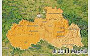 Political Shades Map of Liberecký kraj, satellite outside