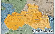 Political Shades Map of Liberecký kraj, semi-desaturated