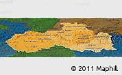 Political Shades Panoramic Map of Liberecký kraj, darken