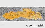 Political Shades Panoramic Map of Liberecký kraj, desaturated
