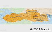 Political Shades Panoramic Map of Liberecký kraj, lighten