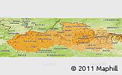 Political Shades Panoramic Map of Liberecký kraj, physical outside