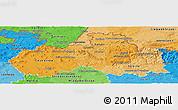 Political Shades Panoramic Map of Liberecký kraj