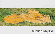 Political Shades Panoramic Map of Liberecký kraj, satellite outside