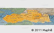 Political Shades Panoramic Map of Liberecký kraj, semi-desaturated