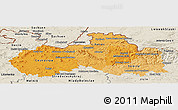 Political Shades Panoramic Map of Liberecký kraj, shaded relief outside