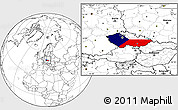 Flag Location Map of Czech Republic, blank outside