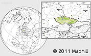 Physical Location Map of Czech Republic, blank outside