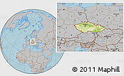 Physical Location Map of Czech Republic, gray outside, hill shading