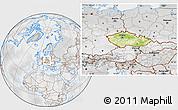 Physical Location Map of Czech Republic, lighten, desaturated