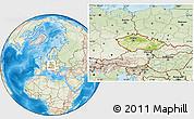 Physical Location Map of Czech Republic, lighten, land only