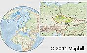 Physical Location Map of Czech Republic, lighten
