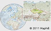 Physical Location Map of Czech Republic, lighten, semi-desaturated