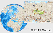 Physical Location Map of Czech Republic, shaded relief outside