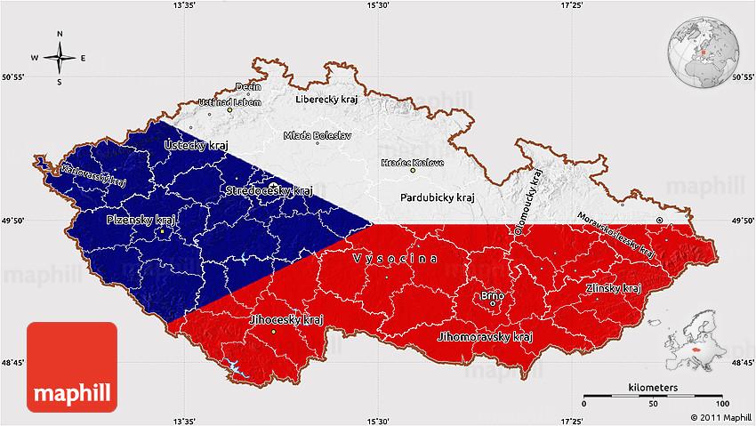 Flag Map of Czech Republic
