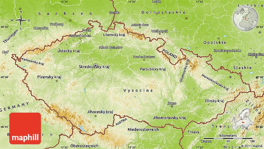 Physical Map of Czech Republic