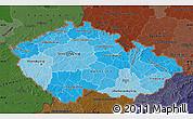 Political Shades Map of Czech Republic, darken