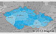 Political Shades Map of Czech Republic, desaturated