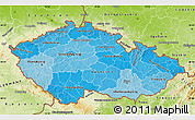 Political Shades Map of Czech Republic, physical outside