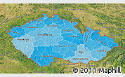 Political Shades Map of Czech Republic, satellite outside