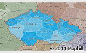 Political Shades Map of Czech Republic, semi-desaturated
