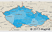 Political Shades Map of Czech Republic, shaded relief outside