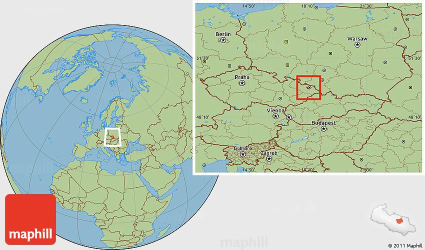 Savanna Style Location Map of Ostravamsto