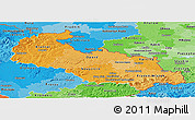 Political Shades Panoramic Map of Moravskoslezský kraj