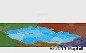 Political Shades Panoramic Map of Czech Republic, darken